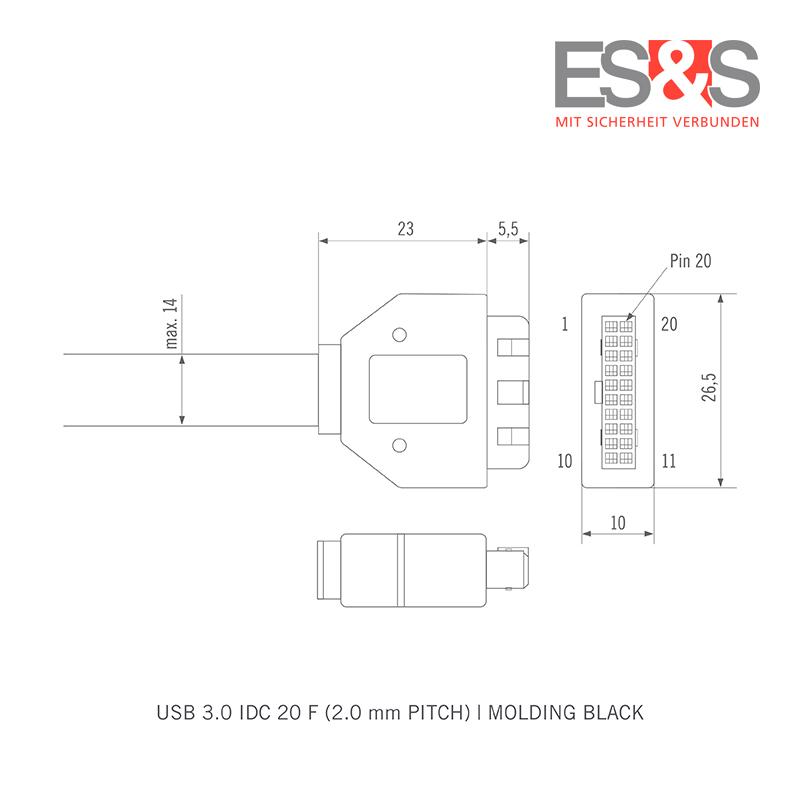 technical drawing pin plug USB 3.0